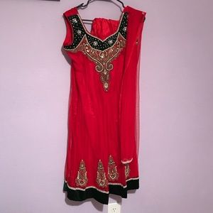 Red and dark green anarkali dress